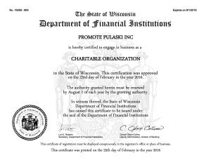Certificate for Promote Pulaski, Inc.